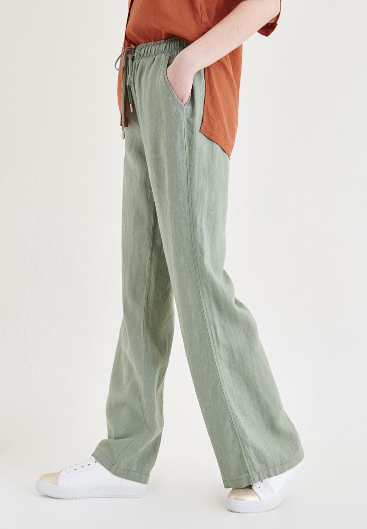 Bayan Yeşil Bağcık Detaylı Pantolon