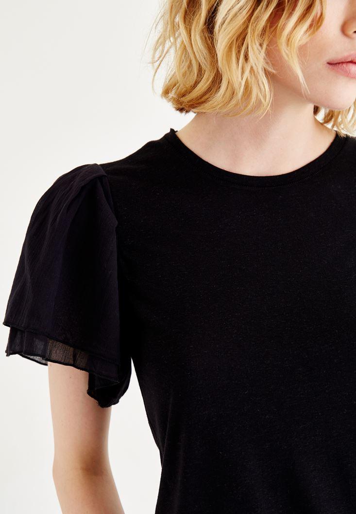Bayan Siyah Kolları Volanlı Bluz