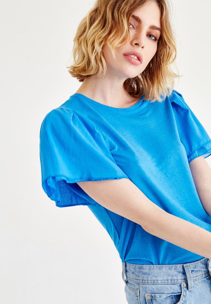 Bayan Mavi Kolları Volanlı Bluz