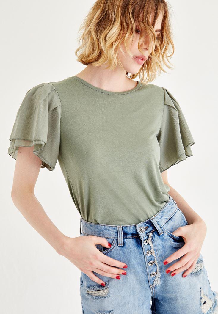Yeşil Kolları Volanlı Bluz