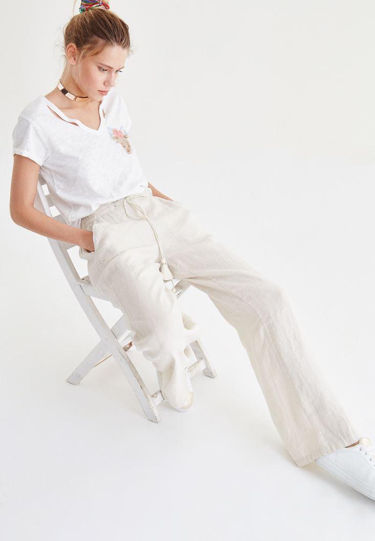 Bayan Krem Bağcık Detaylı Bol Pantolon
