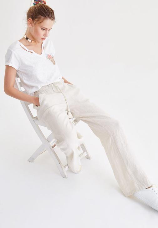 Krem Bağcık Detaylı Bol Pantolon