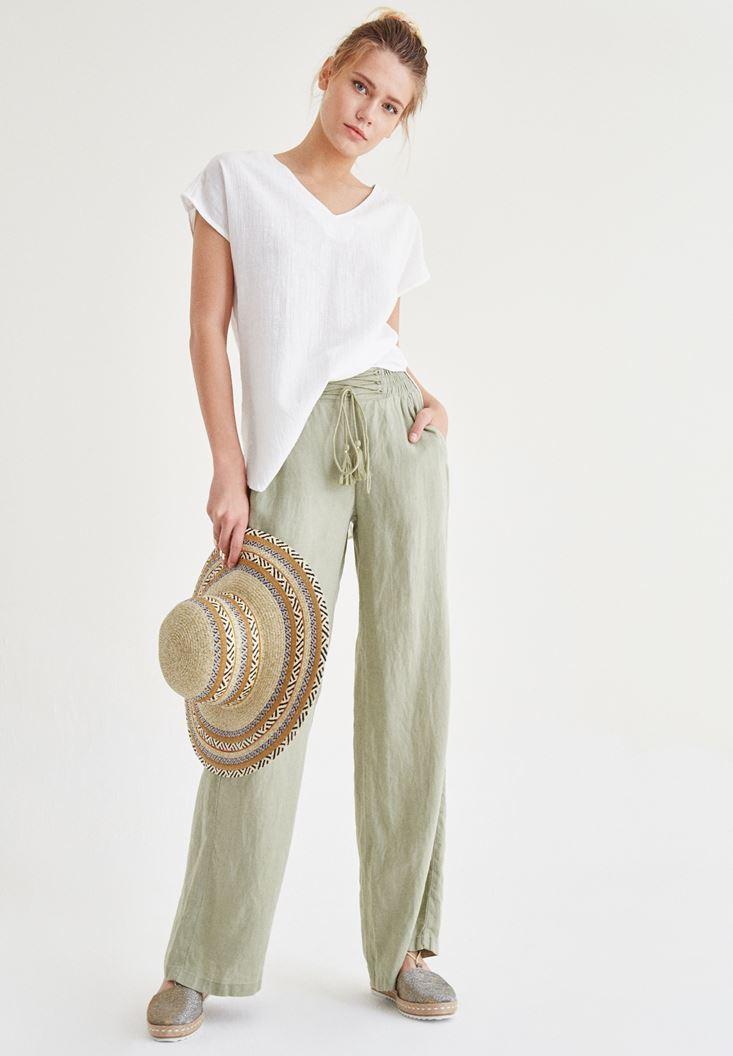 Yeşil Bağcık Detaylı Bol Pantolon
