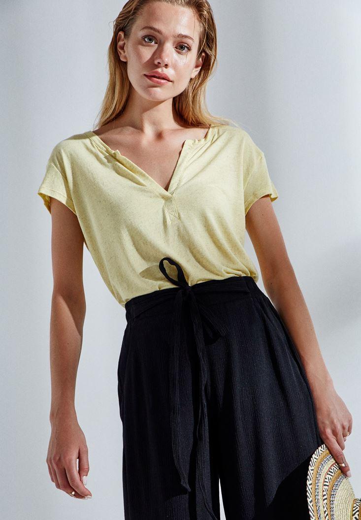 Sarı Yarım Kollu Tişört