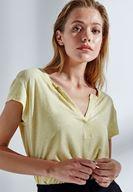 Bayan Sarı Yarım Kollu Tişört