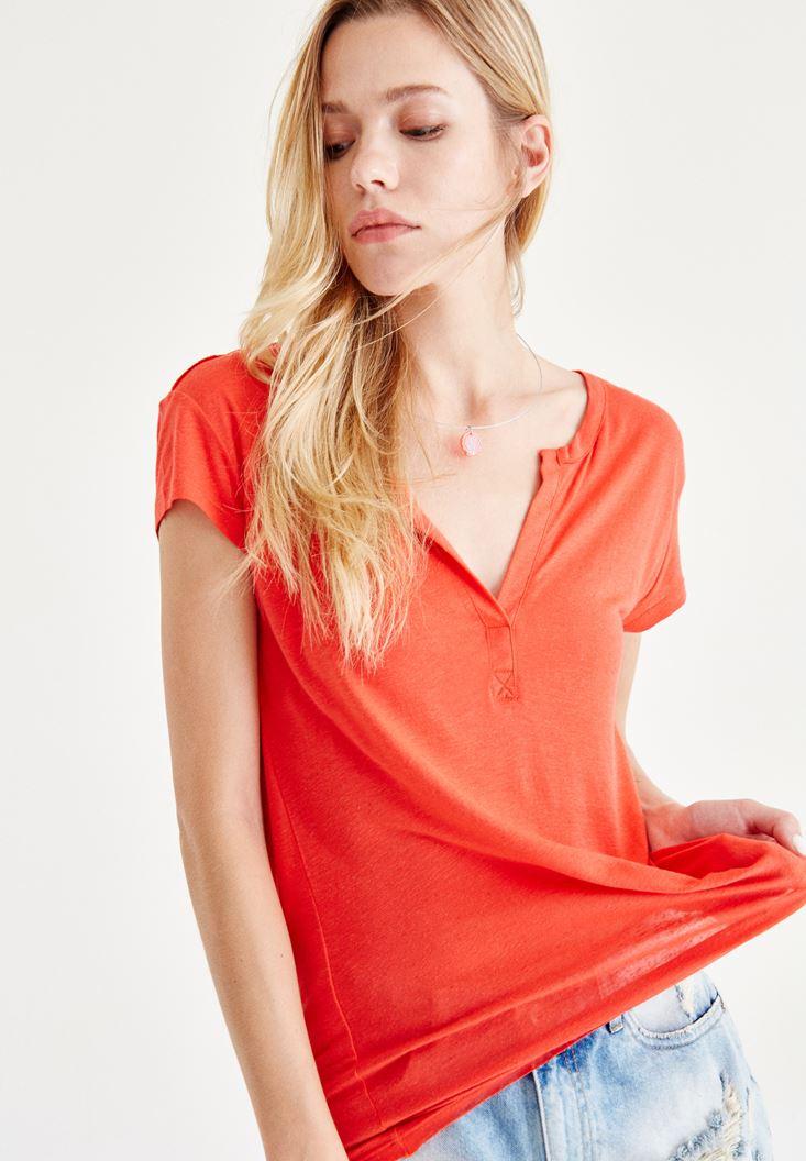 Bayan Kırmızı Yarım Kollu Tişört