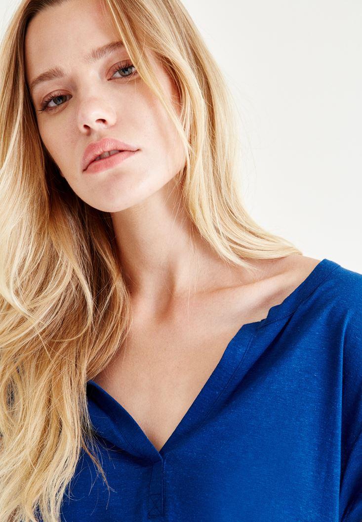 Bayan Lacivert Yarım Kollu Tişört