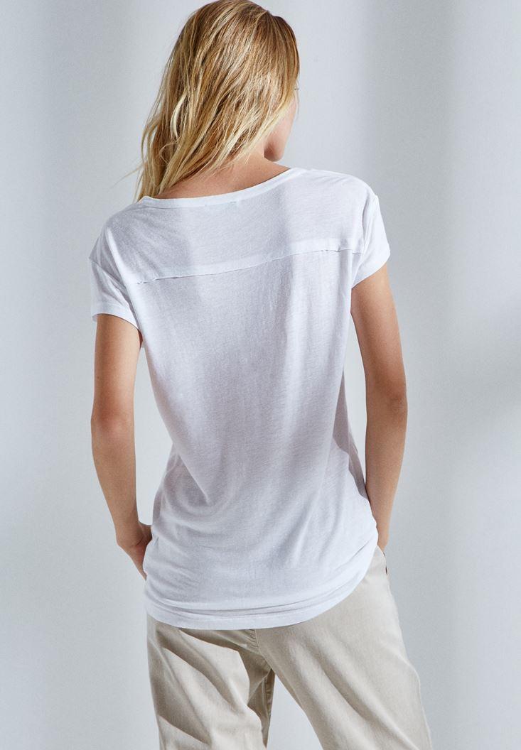 Bayan Beyaz Yarım Kollu Tişört