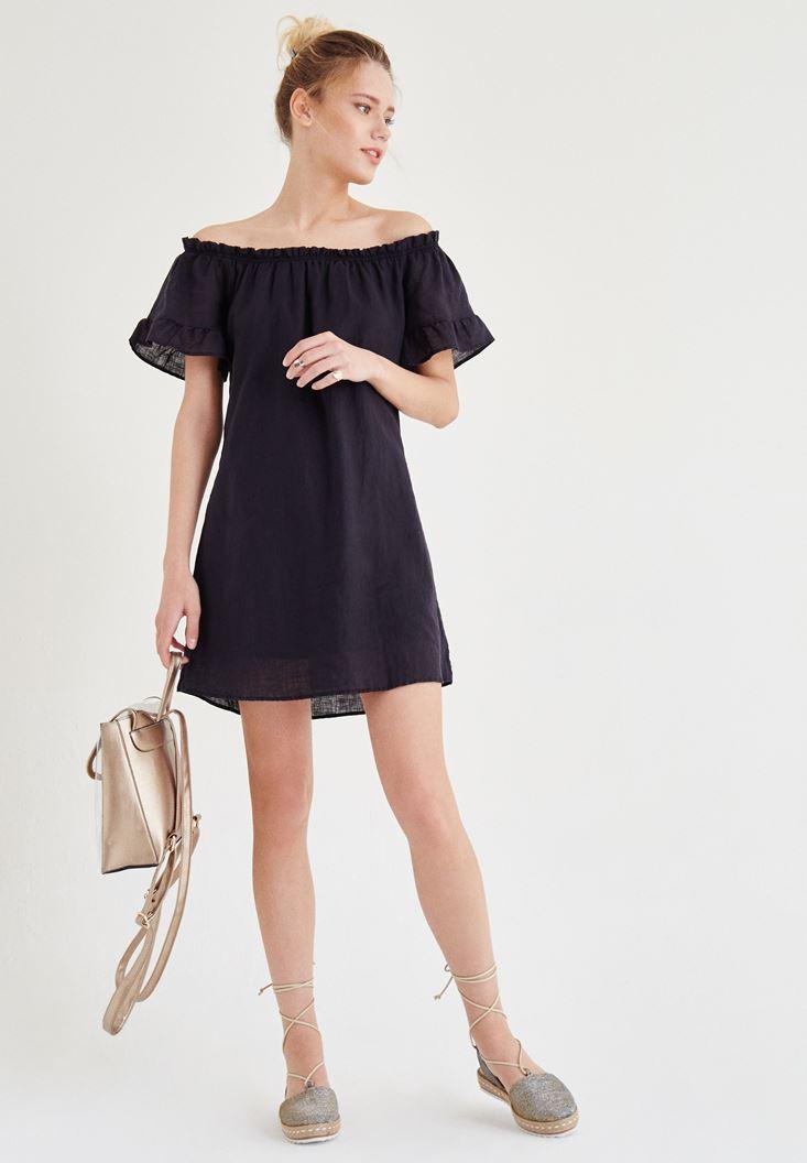 Bayan Siyah Düşük Omuzlu Elbise