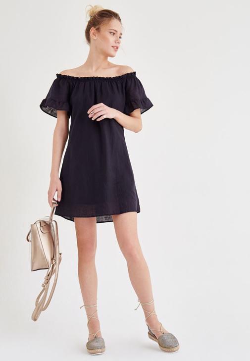 Siyah Düşük Omuzlu Elbise