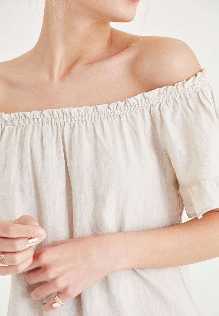 Bayan Krem Düşük Omuzlu Elbise