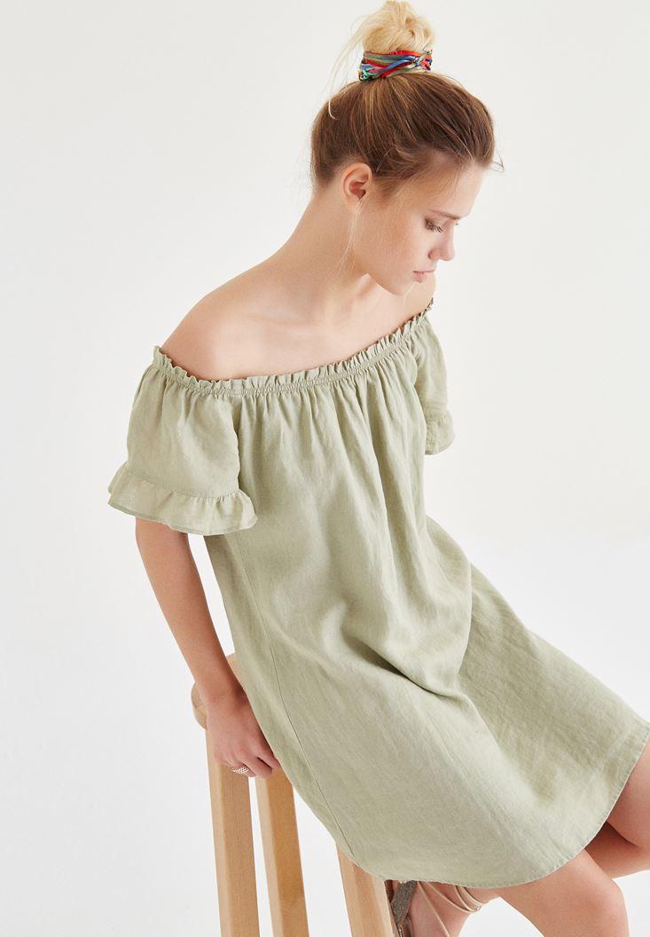 Bayan Yeşil Düşük Omuzlu Elbise