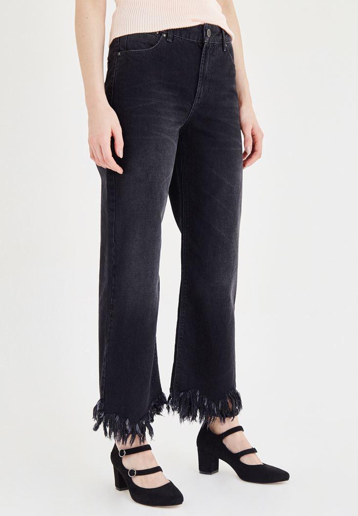Siyah Paça Detaylı Bol Kesim Jean Pantolon