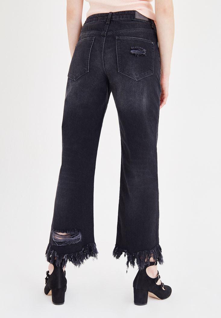 Bayan Siyah Paça Detaylı Bol Kesim Jean Pantolon
