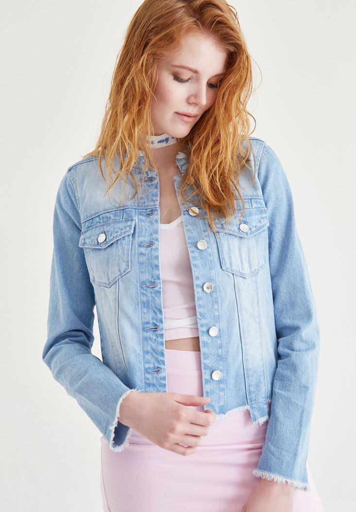 Bayan Mavi Manşet Detaylı Jean Ceket
