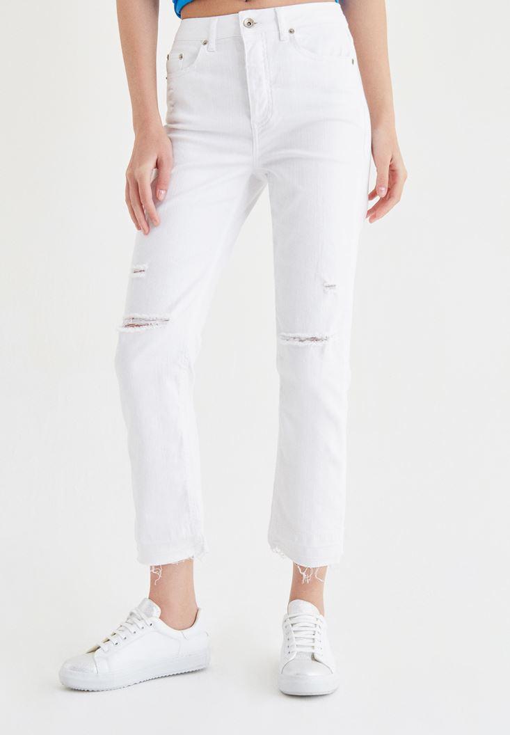 Bayan Beyaz Slim Mom Jean Pantolon