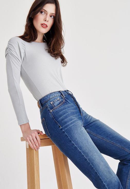 Mavi Kısa Paça Yüksek Bel Jean Pantolon