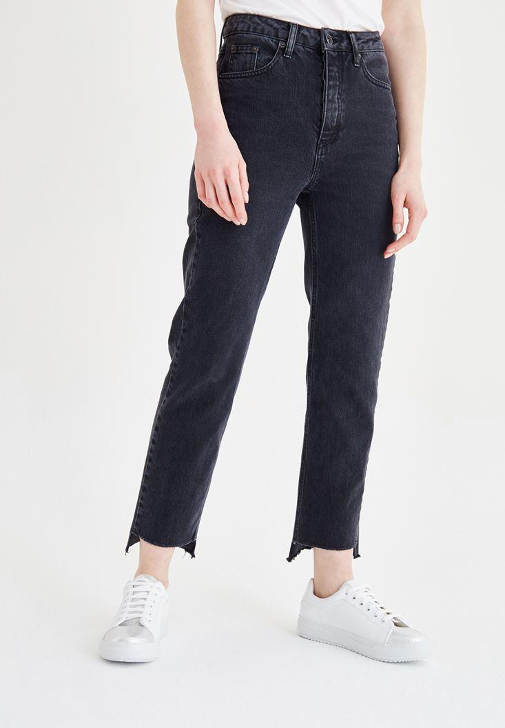 Siyah Ultra Yüksek Bel Slim Mom Jean