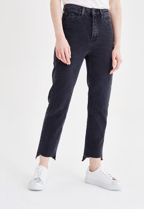 Siyah Ultra Yüksek Bel Mom Jean