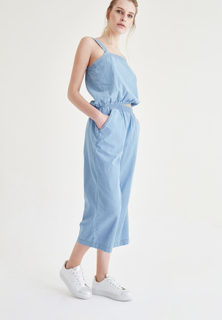 Mavi Beli Lastik Detaylı Kısa Pantolon