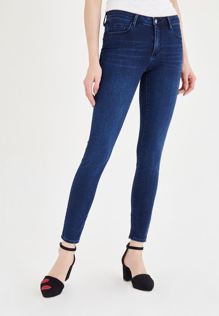 Bayan Mavi Normal Bel Skinny Jean