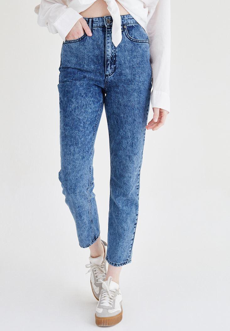 Mavi Ultra Yüksek Bel Mom Jean