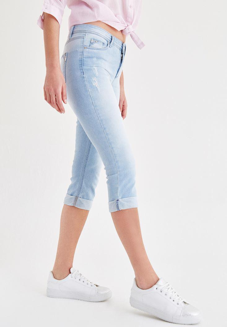 Bayan Mavi Diz Altı Jean