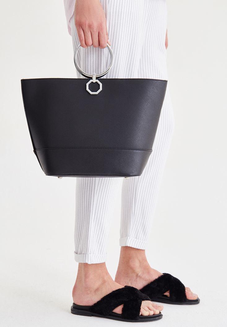 Bayan Siyah Halka Detaylı Çanta