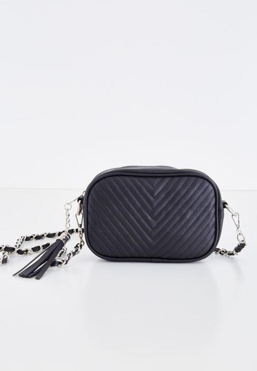 Siyah Püskül Detaylı Askılı Çanta