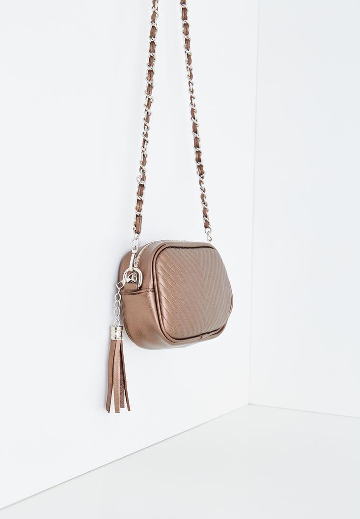 Bayan Kahverengi Püskül Detaylı Askılı Çanta
