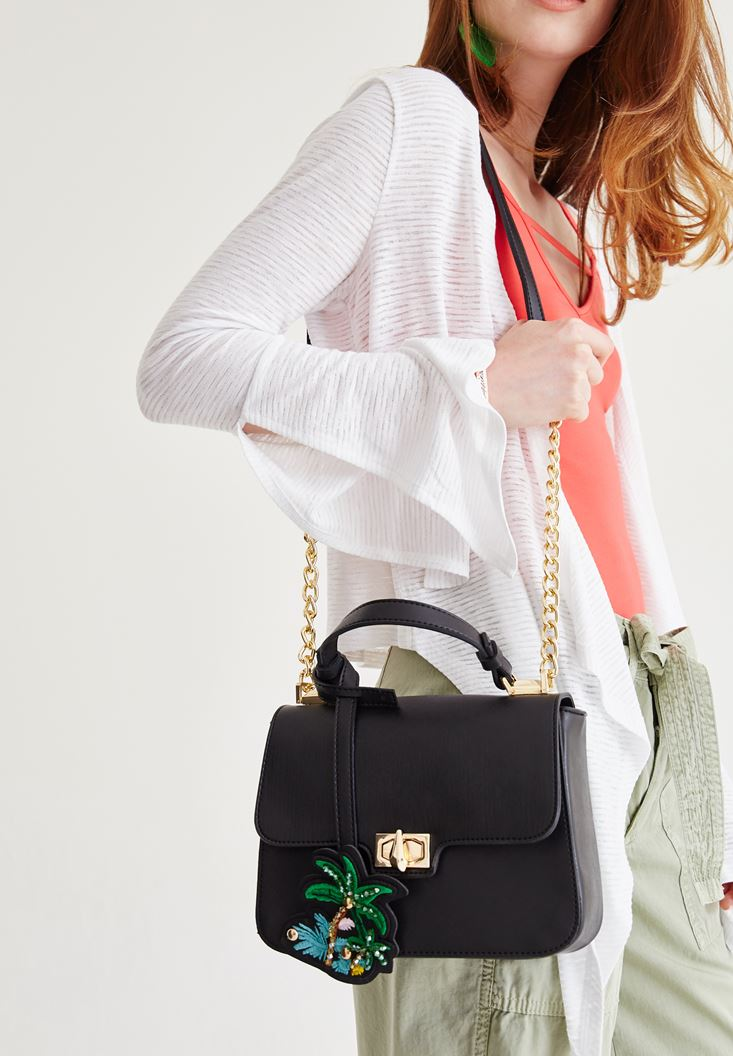 Siyah Palmiye Detaylı Çanta