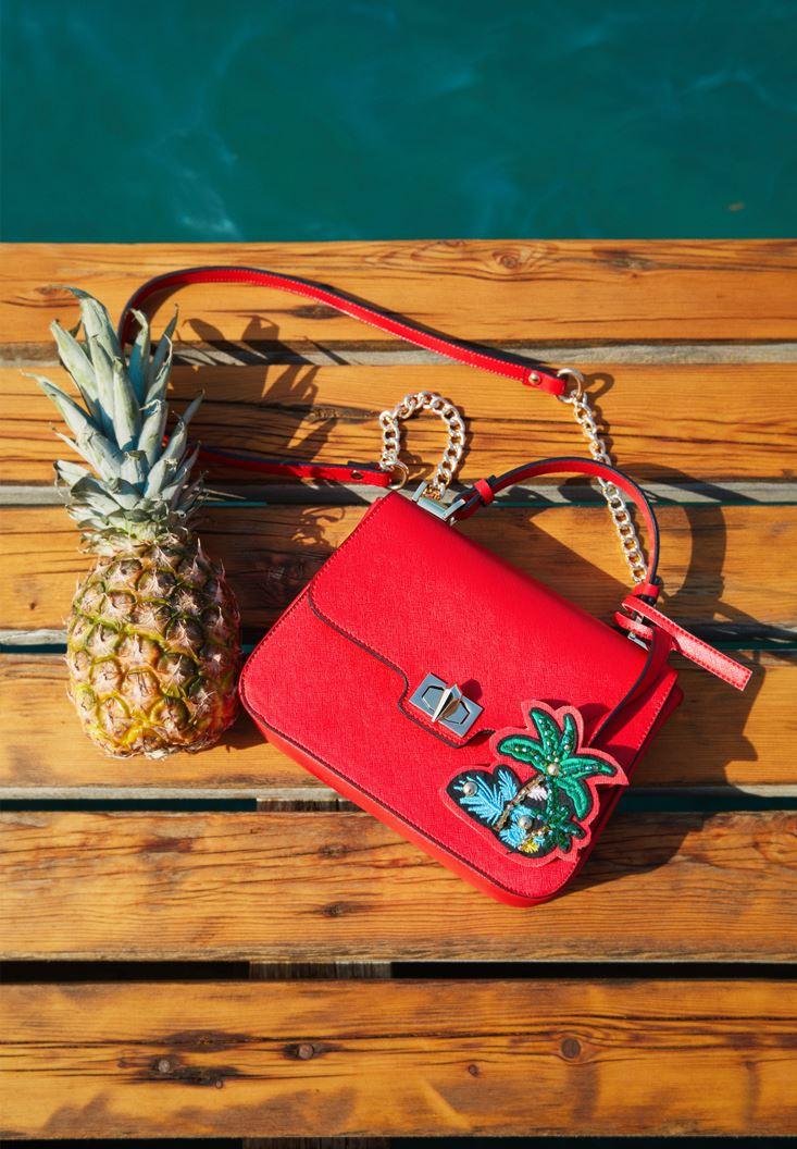 Kırmızı Palmiye Detaylı Çanta
