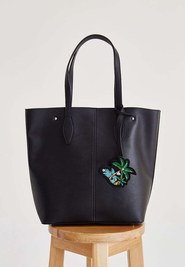 Siyah Palmiye Aksesuarlı Çanta