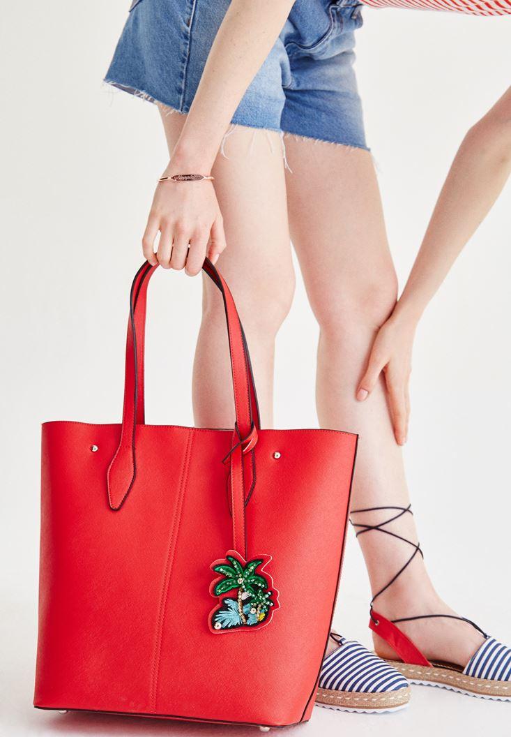 Kırmızı Palmiye Aksesuarlı Çanta