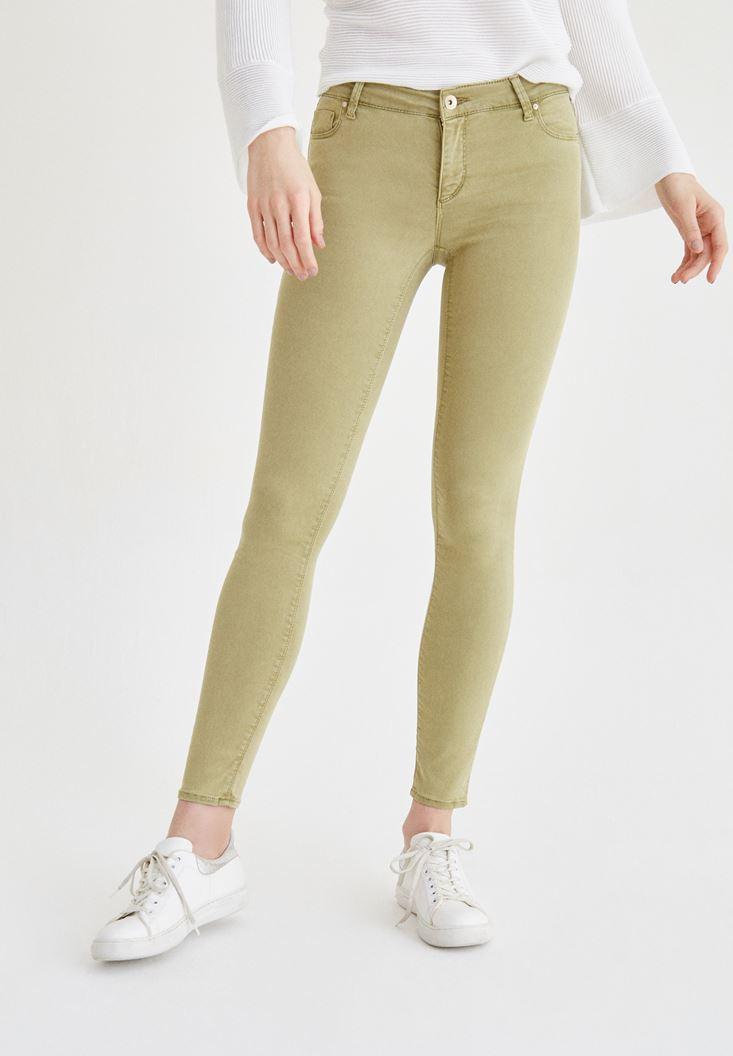 Yeşil Düşük Bel Esnek Pantolon