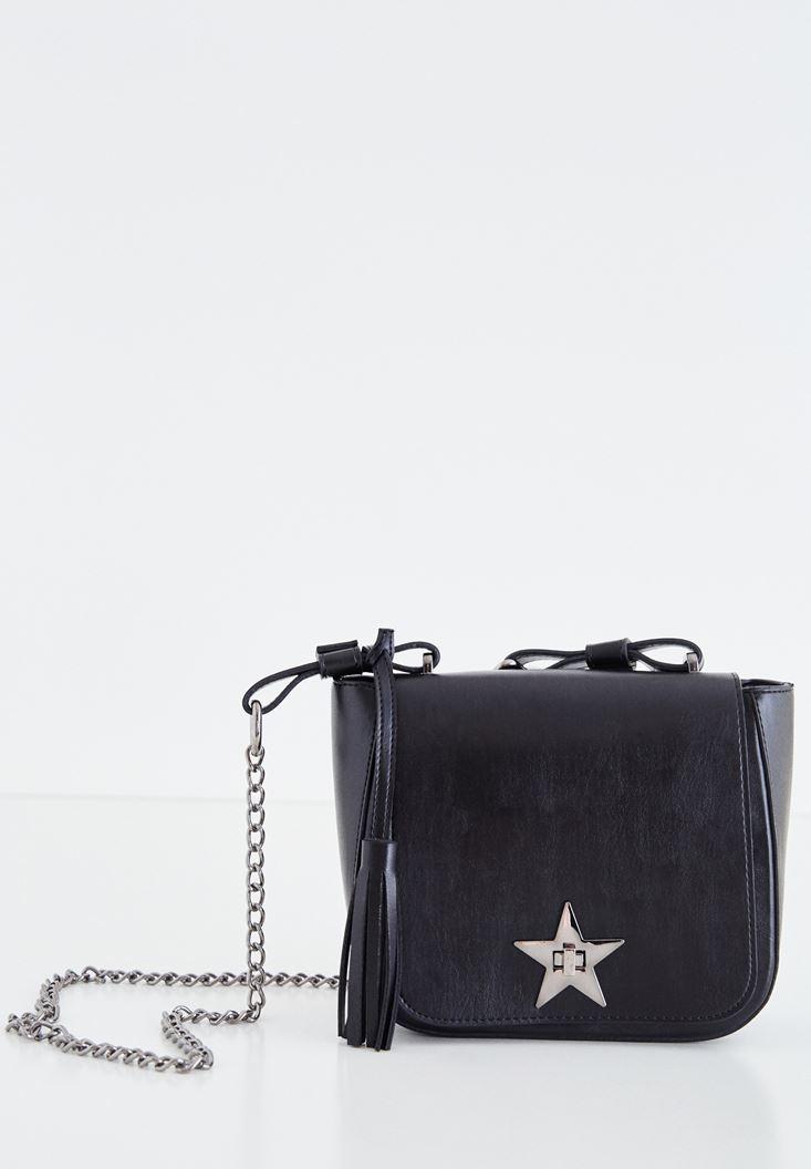 Siyah Yıldız Detaylı Askılı Çanta
