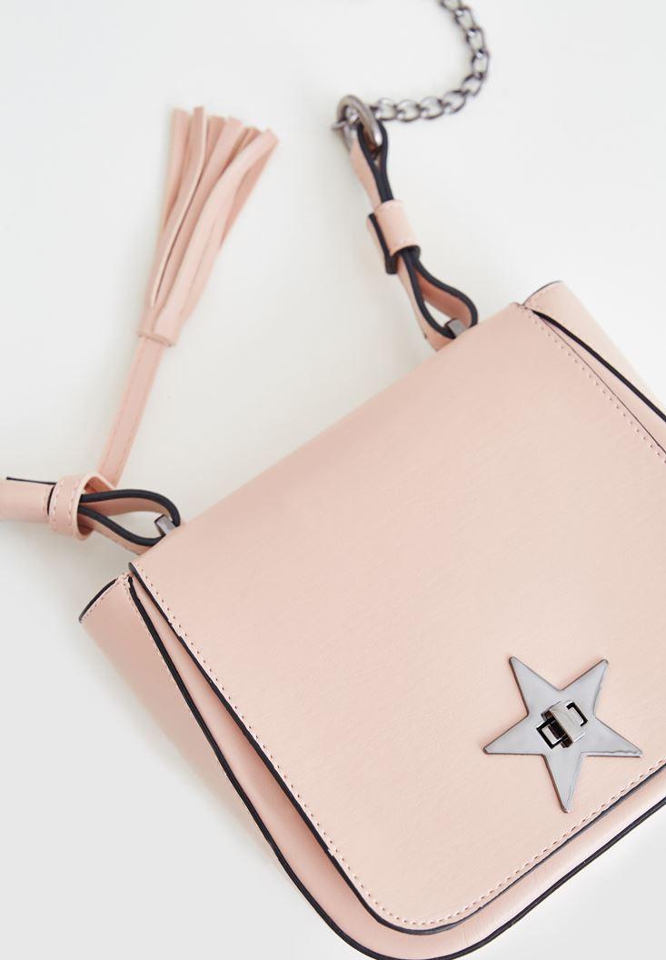 Kahverengi Yıldız Detaylı Askılı Çanta
