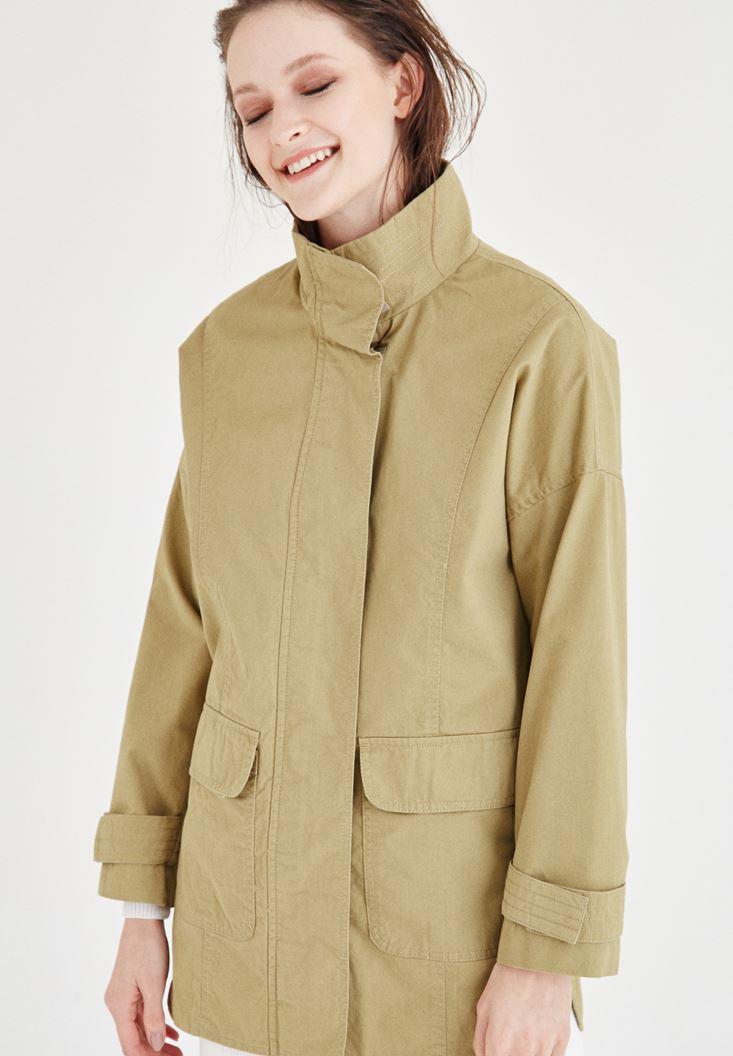 Bayan Yeşil Cep Detaylı Ceket