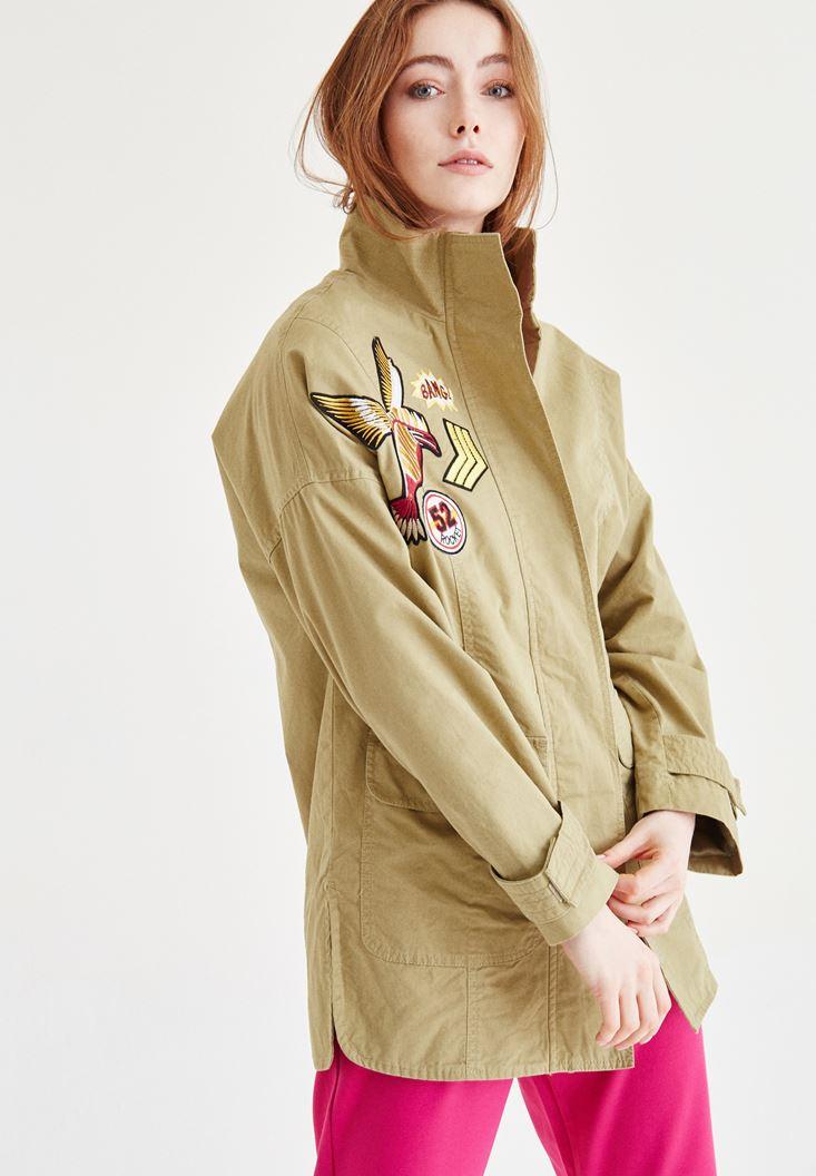 Aplikeli Uzun Ceket