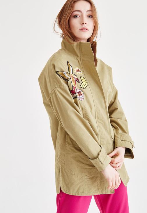 Yeşil Aplikeli Uzun Ceket