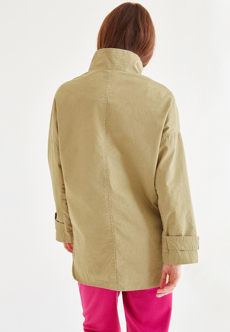 Bayan Yeşil Aplikeli Uzun Ceket