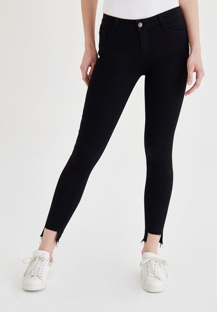 Siyah Düşük Bel Paça Detaylı Pantolon