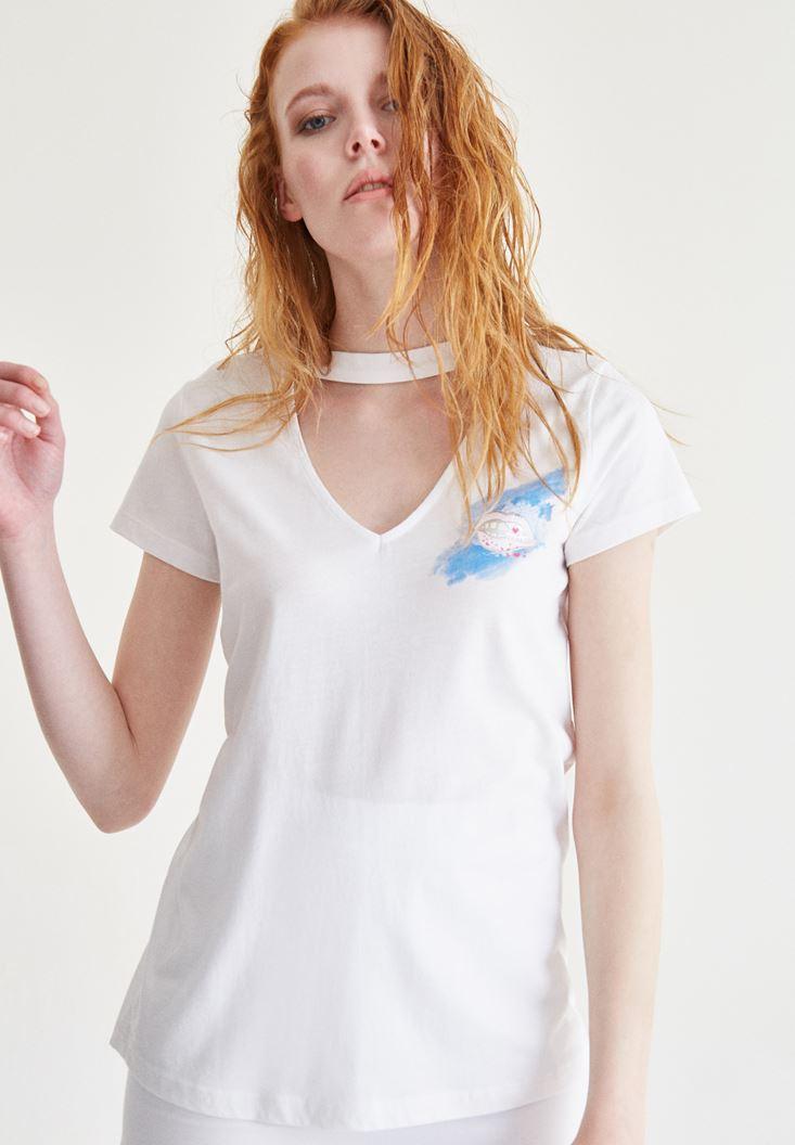 Bayan Beyaz Baskılı V Yaka Tişört