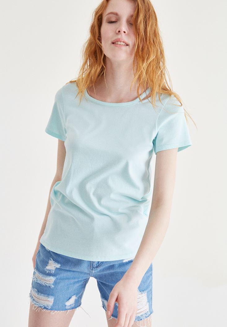 Bayan Mavi Omuz Detaylı Tişört