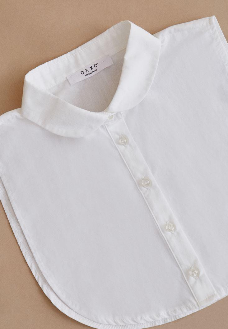 Bayan Beyaz Gömlek Yakası