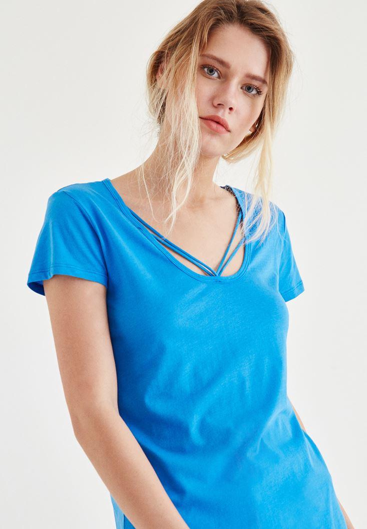 Mavi Biye Detaylı Tişört