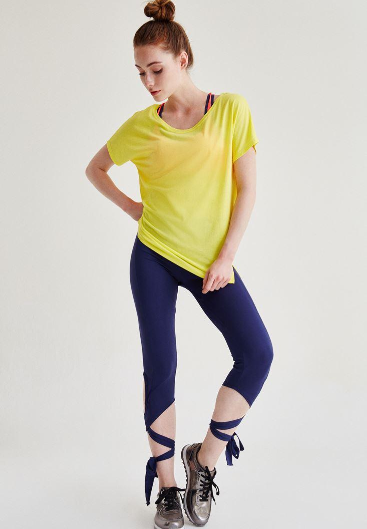 Bayan Sarı Bisiklet Yaka Spor Tişört