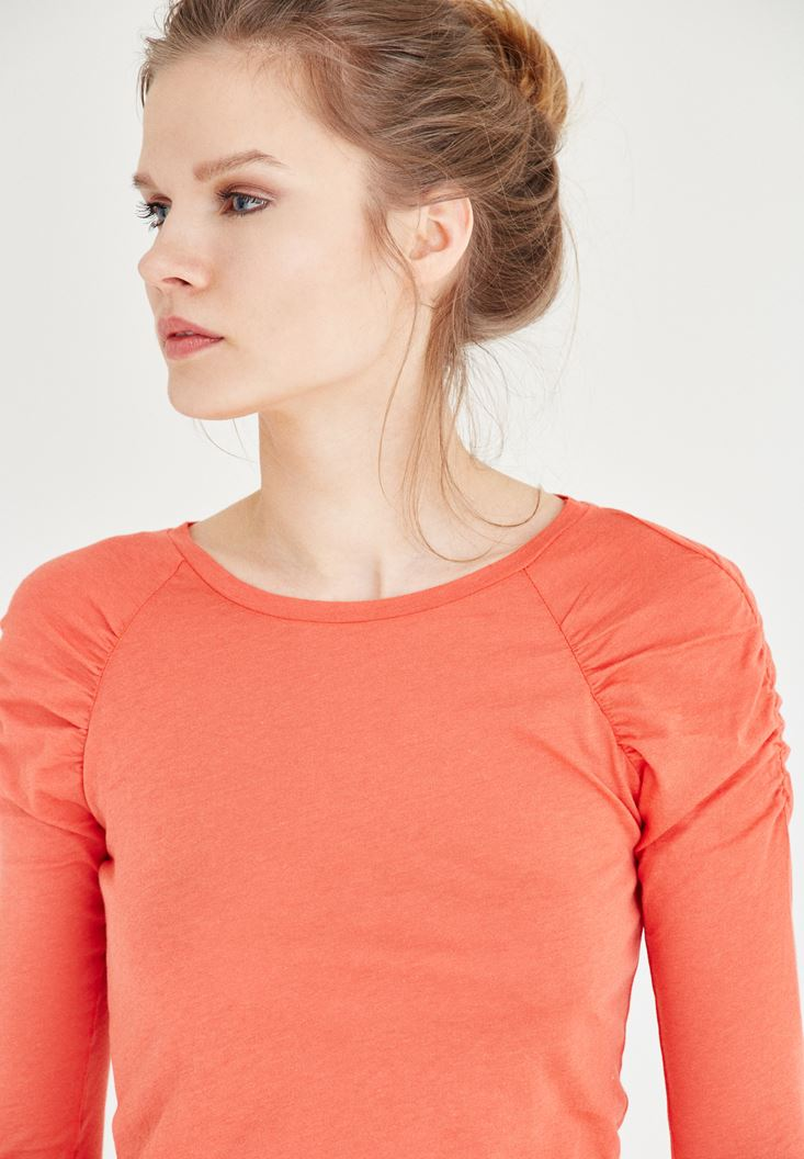 Orange Sleeve Detailed Blouse