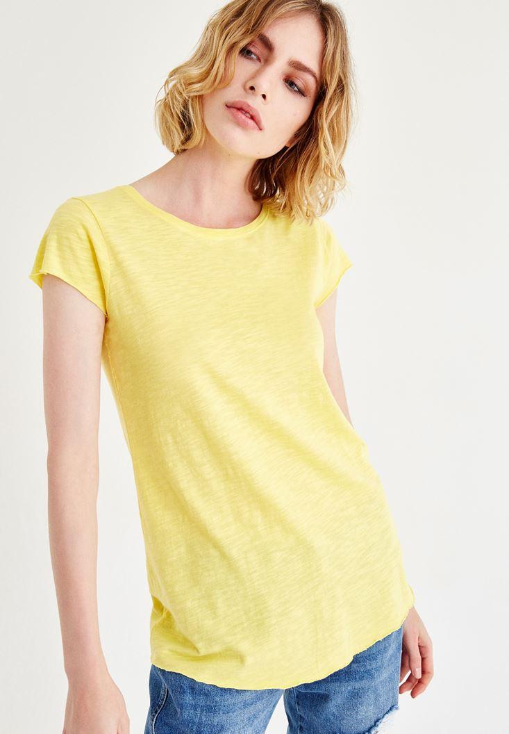 Sarı Kısa Kollu Bisiklet Yaka Tişört