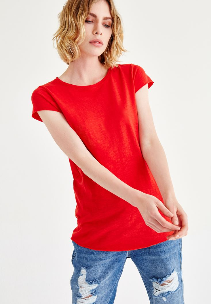 Bayan Kırmızı Kısa Kollu Bisiklet Yaka Tişört